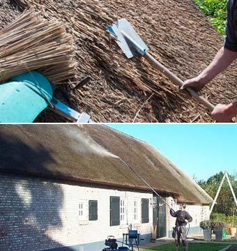 rieten dak schoonmaken